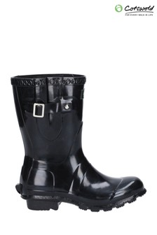 Cotswold Black Windsor Gloss Short Wellington Boots