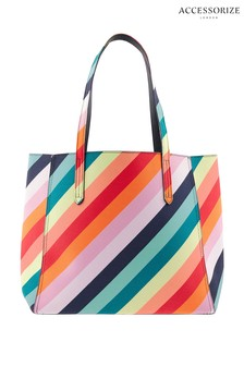 Accessorize Blue Reversible Rainbow Tote