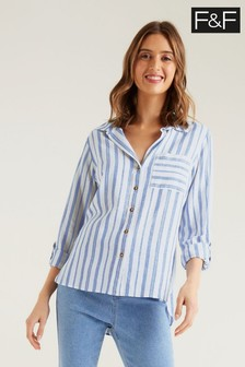 F&F Linen Blue Stripe Shirt