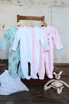 The Essential One Baby Girls Vintage Floral Frill Sleepsuits Three Pack
