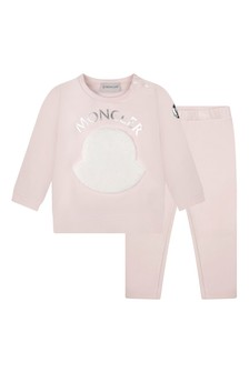 Moncler Enfant Baby Girls Light Pink Cotton Logo Tracksuit
