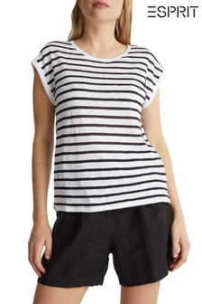 Esprit Black Short Sleeve Striped T-Shirt