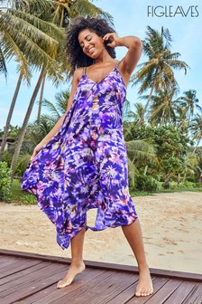 Figleaves Natural Samui Hanky Hem Tie Dye Dress