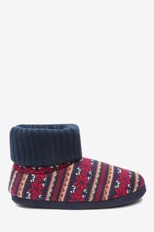 Fairisle Pattern Boot Slippers