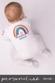 Personalised Dreamer Rainbow Sleepsuit