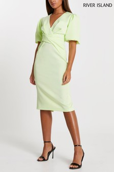 River Island Lime Twist Front Bodycon Midi Dress