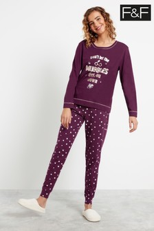 F&F Burgundy Harry Potter Family Pyjamas