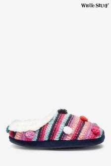 White Stuff Pink Stripe Slipper Mules