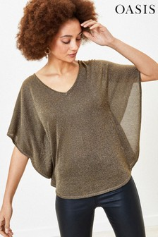 Oasis Gold Sparkle Batwing Knit Top