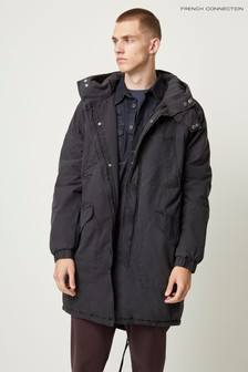 French Connection Black Peached Cotton Long Parka