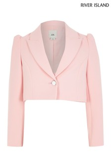 River Island Pink Cropped Puff Blazer