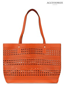 Accessorize Orange Punch Out Shopper Bag