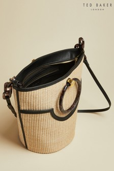 Ted Baker Black Amayi Resin Handle Straw Bucket Bag