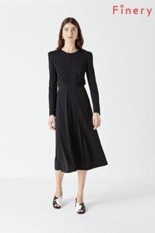 Czarna dżersejowa sukienka Finery Orla z długim rękawem