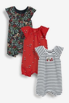 3 Pack Gathered Neck Printed Rompers (0mths-3yrs)