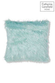 Metallic Faux Fur Cushion by Catherine Lansfield