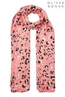 Oliver Bonas Animal Snow Leopard Print Pink Scarf