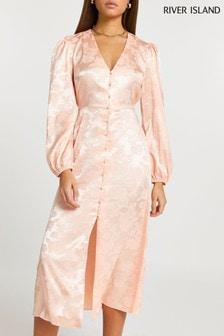 River Island Pink Light Button Through Midi Dress