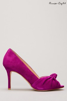 Phase Eight Purple Sonja Suede Knot Peep Toe Shoes