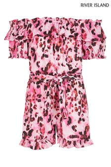 River Island Pink Bright Leopard Bardot Playsuit