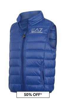EA7 Emporio Armani Boys Blue Down Padded Gilet