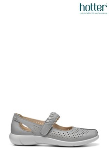 Hotter Grey Hotter Touch Fastening Mary Jane Shoes