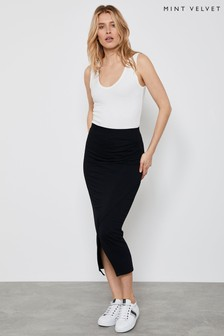 Mint Velvet Black Jersey Wrap Midi Skirt