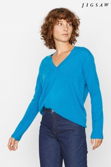 Jigsaw Blue Suki Cashmere V-Neck Jumper