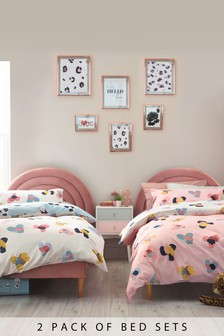 2 Pack Pink Colourful Animal Duvet Cover And Pillowcase Set