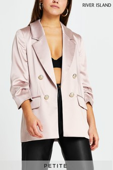 River Island Petite Pink Ruched Sleeve Blazer