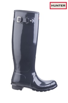 Hunter Grey Original Tall Gloss Wellington Boots
