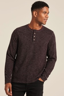 FatFace Purple Overton Textured Henley T-Shirt