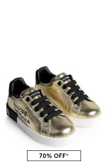 Dolce & Gabbana Kids Girls Gold Leather Lace-Up Trainers