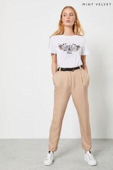 Mint Velvet Camel Twill Tapered Trousers