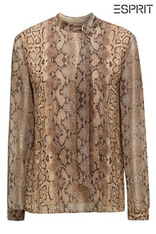 Esprit Brown Snake Print Bow Blouse