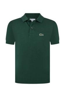 Lacoste Kids Boys Cotton Dark Green Short Sleeve Polo Top