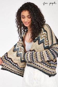 Free People Beige/Navy Crochet Cardigan
