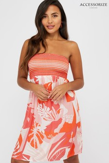 Accessorize Orange Coral Print Bandeau Dress