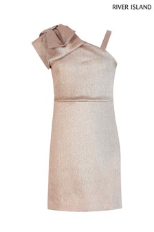 River Island Rose Gold One Shoulder Smart Dress