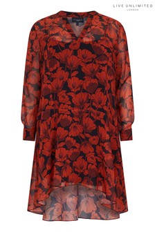 Live Unlimited Red Poppy Dropped Waist Dress