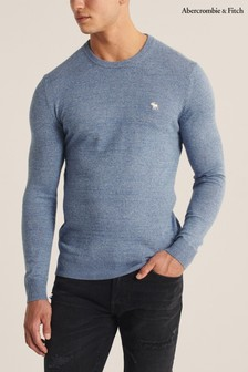Abercrombie & Fitch Light Blue Knit Crew Sweater