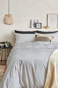 Textured Spot Dobby Duvet Cover And Pillowcase Set