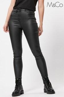 M&Co Black Faux Leather Trousers