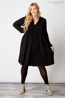 Live Unlimited Black Pintuck Raglan Sleeve Tunic
