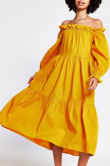 River Island Yellow Dark Bardot Puff Dress