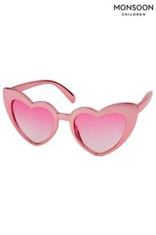 Monsoon Pink Metallic Retro Heart Sunglasses