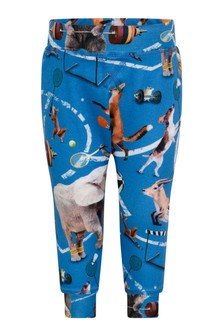 Molo Baby Boys Blue Organic Cotton Athletic Animal Joggers