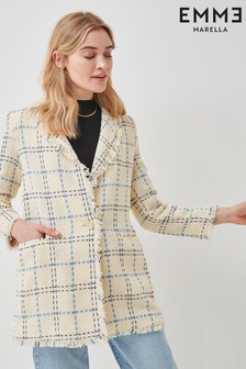 Emme Marella Cream Check Tweed Fringe Elmo Blazer