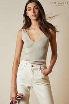 Ted Baker Niyalia Skinny Ribbed V-Neck Top