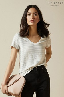 Ted Baker Cream Giianai V-Neck Relaxed Striped T-Shirt